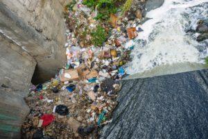 Garbage in waterway